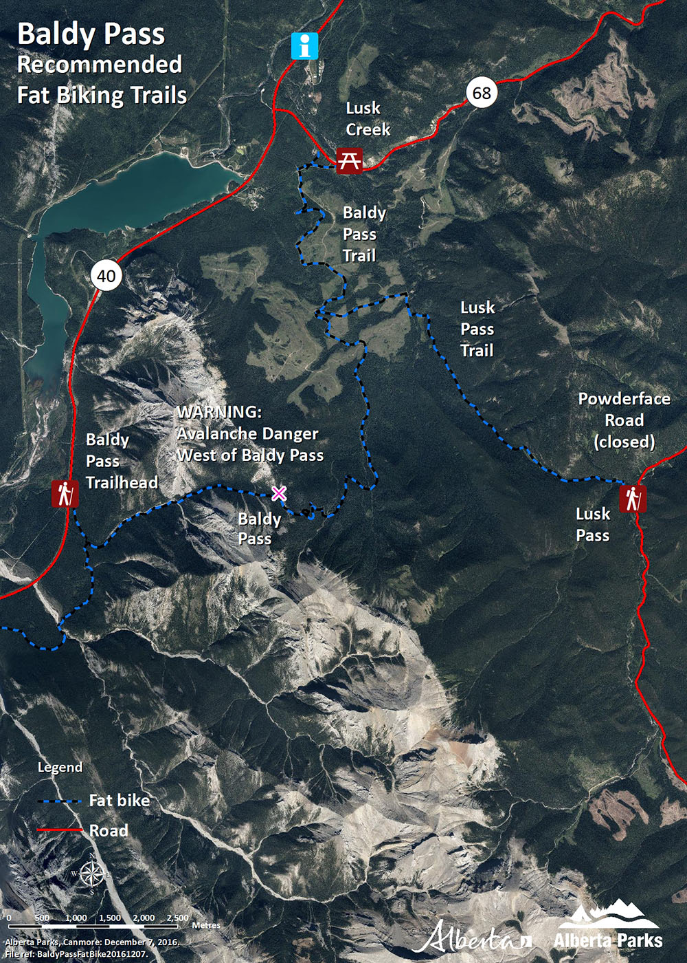 Kananaskis - Baldy Pass Fat Biking Map