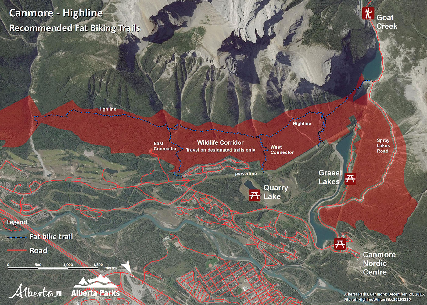 Kananaskis Canmore Area - Highline Fat Bike Map