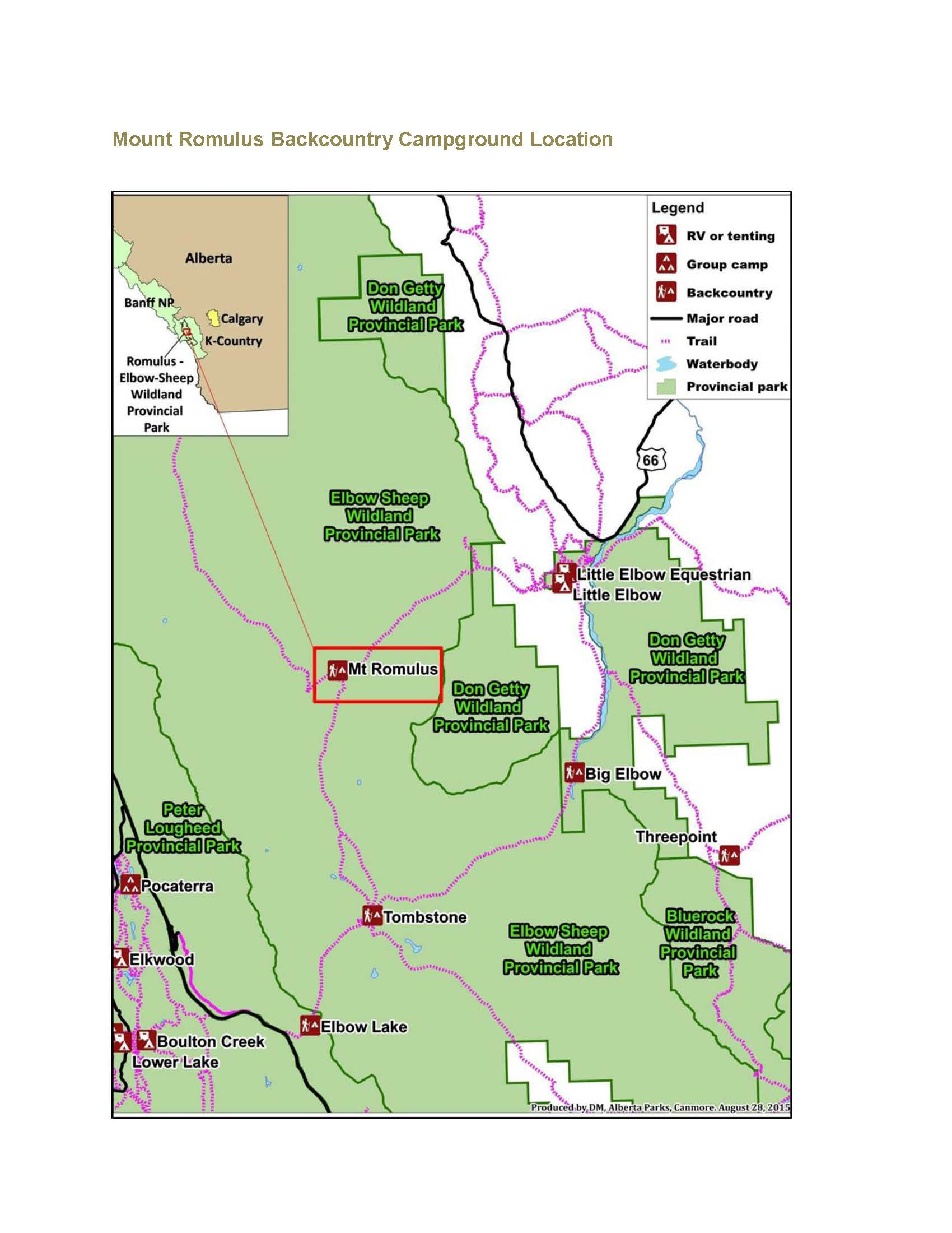 Elbow-Sheep WPP - Mount Romulus Backcountry Campground Map